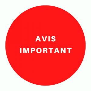 Coronavirus (COVID-19) : Avis important